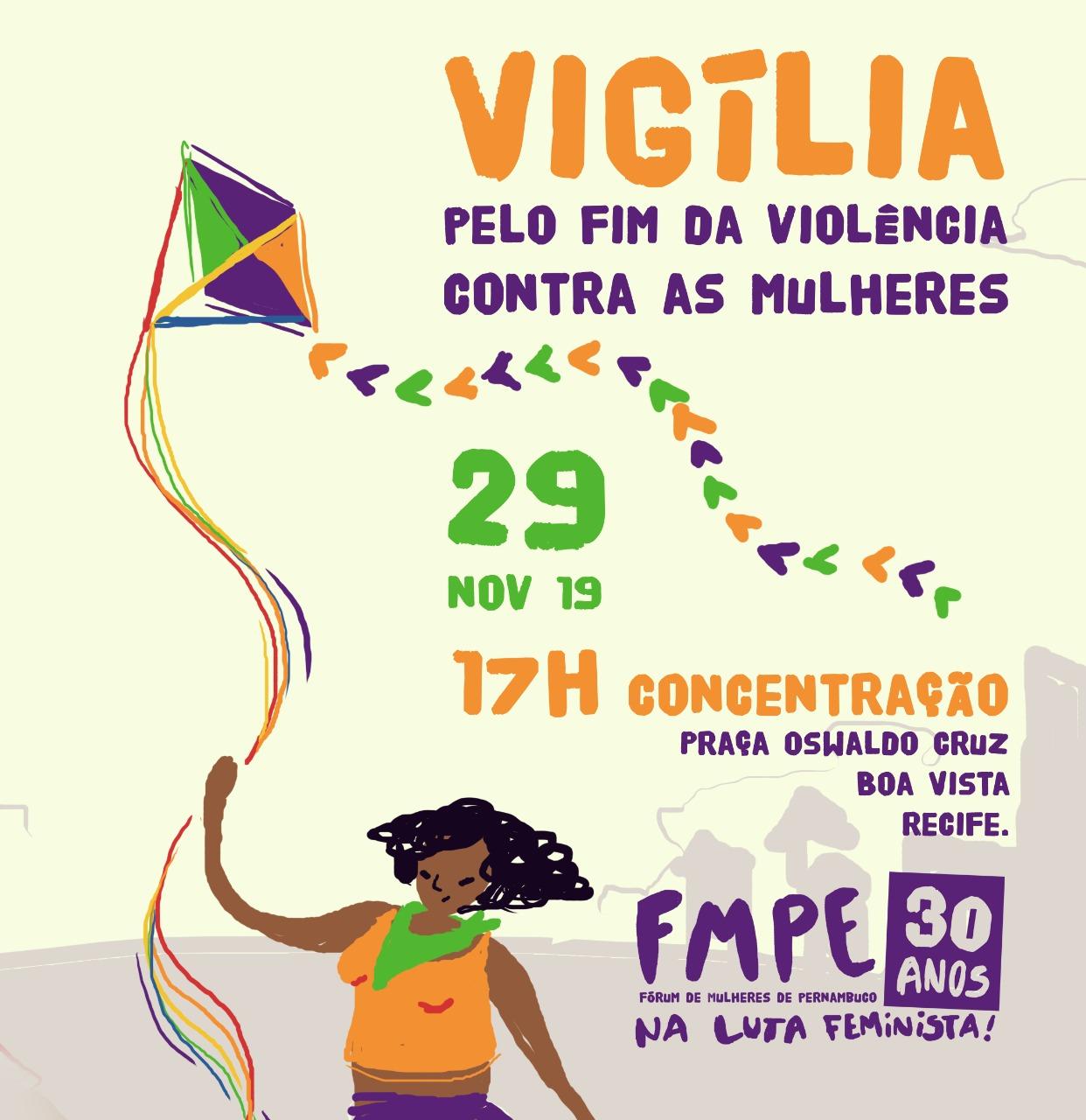 Fórum de Mulheres de Pernambuco realiza vigília pelo fim da violência contra as mulheres