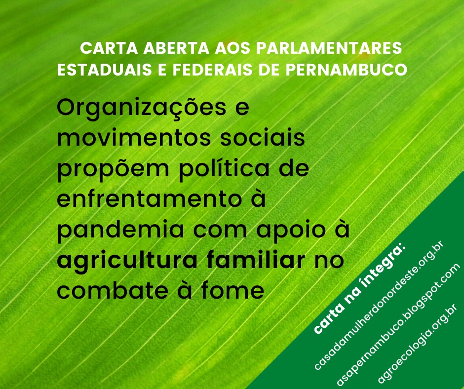 Organizações e Movimentos sociais propõem política de enfrentamento à Pandemia com apoio à agricultura familiar no combate à fome