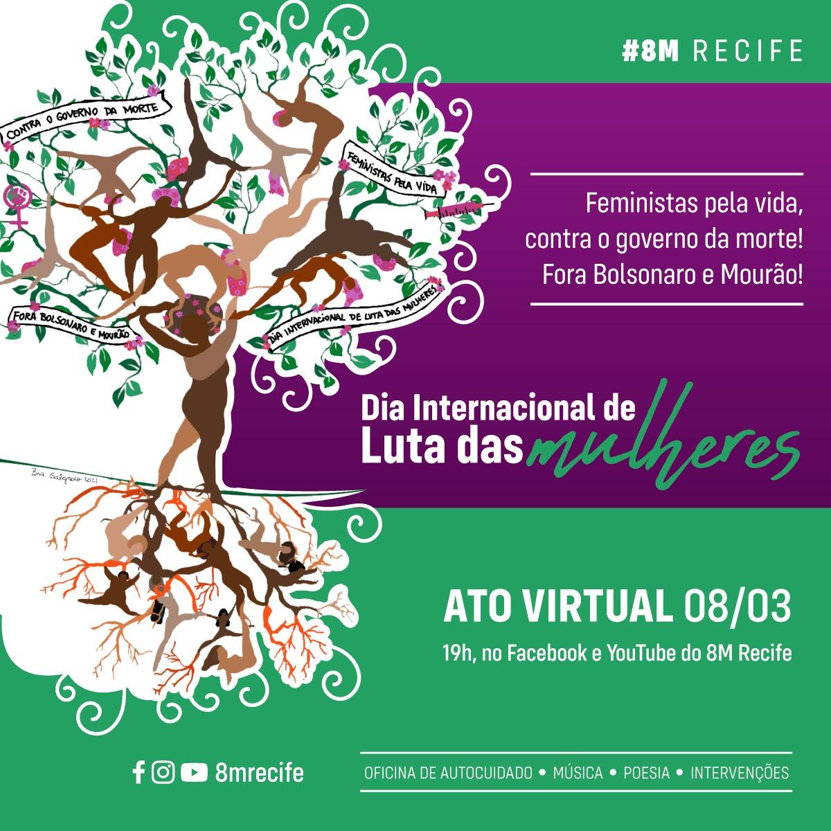 Feministas na Região Metropolitana do Recife organizam live em comemoração ao Dia Internacional de Luta das Mulheres